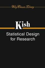 Cover of: Statistical design for research