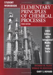 Cover of: Student Workbook to accompany Elementary Principles of Chemical Processes | Richard M. Felder, Ronald W. Rousseau