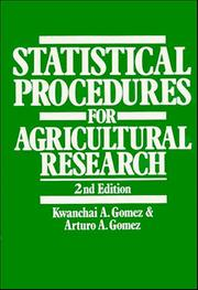 Cover of: Statistical procedures for agricultural research by Kwanchai A. Gomez
