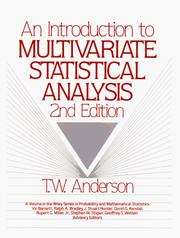 Cover of: An introduction to multivariate statistical analysis | Anderson, T. W.