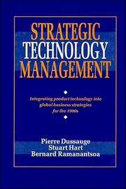 Cover of: Strategic technology management by Pierre Dussauge