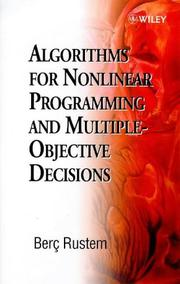 Cover of: Algorithms for Nonlinear Programming and Multiple-Objective Decisions