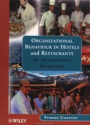 Cover of: Organizational behaviour in hotels and restaurants