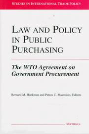 Cover of: Law and policy in public purchasing |