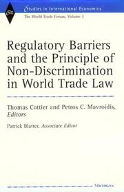 Cover of: Regulatory Barriers and the Principle of Non-discrimination in World Trade Law |