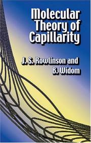 Cover of: Molecular theory of capillarity