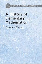 Cover of: A History of Elementary Mathematics