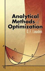 Cover of: Analytical Methods of Optimization