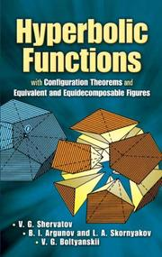 Cover of: Hyperbolic functions