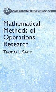 Cover of: Mathematical Methods of Operations Research
