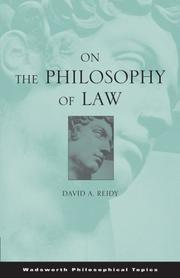 Cover of: On the Philosophy of Law (Wadsworth Philosophical Topic) | David Reidy