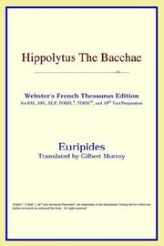 Cover of: Hippolytus – The Bacchae