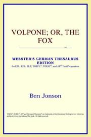 Cover of: Volpone; or, The Fox