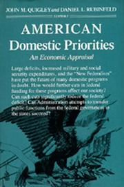 Cover of: American domestic priorities by