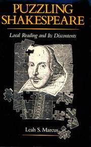 Cover of: Puzzling Shakespeare | Leah S. Marcus