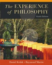 Cover of: The experience of philosophy