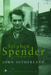 Cover of: Stephen Spender | Sutherland, John