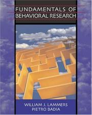 Cover of: Fundamentals of Behavioral Research (with InfoTrac ) | William J. Lammers