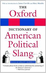 Cover of: The Oxford Dictionary of American Political Slang |