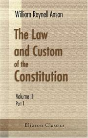 Cover of: The Law and Custom of the Constitution: Volume 2