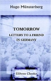 Cover of: Tomorrow: Letters to a friend in Germany