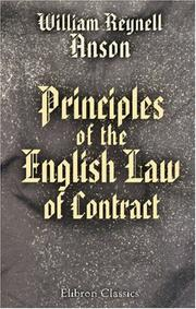 Cover of: Principles of the English Law of Contract