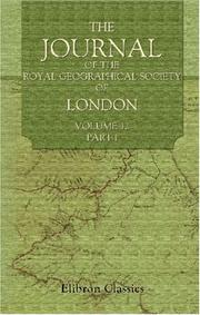Cover of: The Journal of the Royal Geographical Society of London | Author unknown