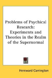 Cover of: The problems of psychical research
