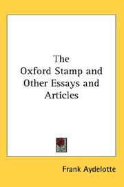 Cover of: The Oxford Stamp and Other Essays and Articles