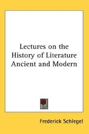 Cover of: Lectures on the History of Literature Ancient and Modern