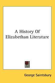 Cover of: A History of Elizabethan Literature