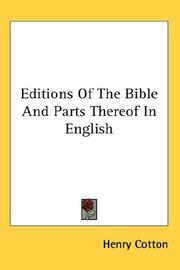 Cover of: Editions Of The Bible And Parts Thereof In English