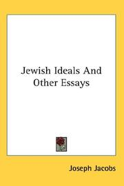 Cover of: Jewish ideals, and other essays