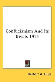 Cover of: Confucianism And Its Rivals 1915