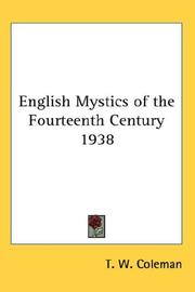Cover of: English Mystics of the Fourteenth Century 1938