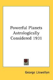 Cover of: Powerful Planets Astrologically Considered 1931