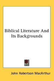 Cover of: Biblical Literature And Its Backgrounds