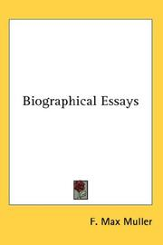Cover of: Biographical Essays | F. Max Muller