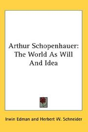 Cover of: Arthur Schopenhauer |