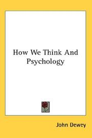 Cover of: How We Think And Psychology