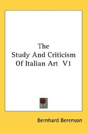Cover of: The Study And Criticism Of Italian Art  V1