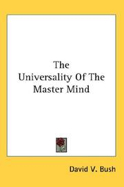 Cover of: The Universality Of The Master Mind