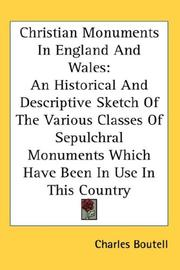 Cover of: Christian monuments in England and Wales