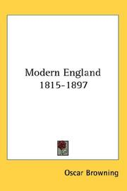Cover of: Modern England 1815-1897
