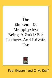 Cover of: The Elements Of Metaphysics | Paul Deussen
