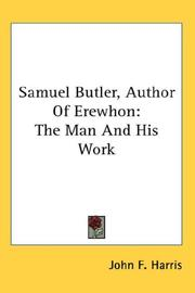 Cover of: Samuel Butler, Author Of Erewhon