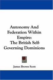 Cover of: Autonomy And Federation Within Empire