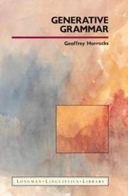 Generative grammar by Geoffrey C. Horrocks