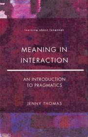 Cover of: Meaning in interaction