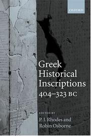 Cover of: Greek historical inscriptions